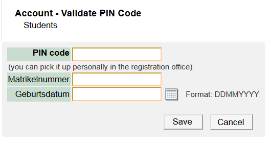 Screenshot entering PIN-Code
